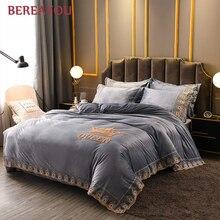Warm Bedding Sets Luxury Flannel AB side Thick Winter Comforter Single Double King Duvet Cover Pillowcase jogo de cama solteiro