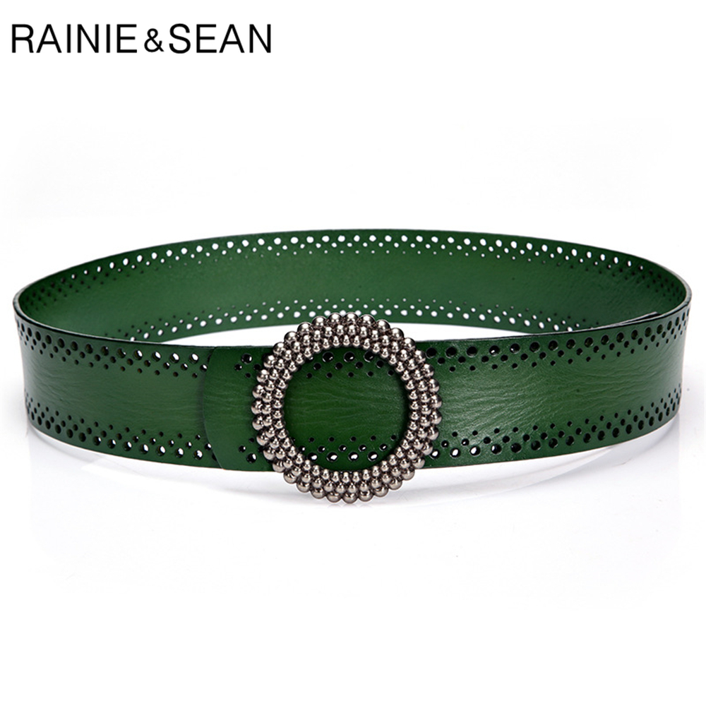 RAINIE SEAN Blackish Green Women Belt No Hole Ladies Belts for Dresses Real Leather High Quality Apparel Accessories 100cm