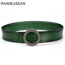 RAINIE-SEAN Blackish vert pour femmes, ceintures sans trous, accessoires pour robes en cuir véritable, bonne qualité, 100cm