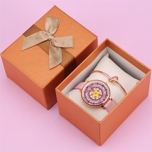 Luxury Rose Gold Female Watch Bangle Set Gift for Girl Hot Fashion Sailor Moon Display Quartz Women Watches Present Box reloj цена