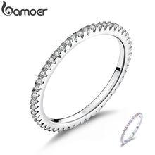 BAMOER – anneaux empilables en argent Sterling 925 pour femme, bijou classique de haute qualité, en CZ clair, géométrique, cadeau de mariage, SCR066