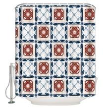 Cortina de baño a prueba de agua de tela de poliéster cortinas de ducha con patrón de azulejos Vintage Tema de Pascua