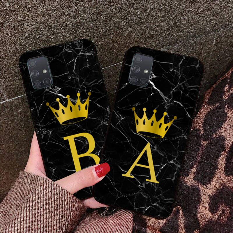 2020 Letter Monogram Black Marble <font><b>Gold</b></font> crown Phone <font><b>Case</b></font> Cover For <font><b>Samsung</b></font> A10 A20 A30 A40 A50 A70 A80 A71 A91 A51 A6 A8 2018 image