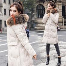 Пуховик с хлопковой подкладкой, женская одежда средней длины, стиль, корейский стиль, облегающее зимнее пальто выше колена, толстый хлопок