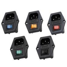 Розетка питания с двумя штекерами, 10 А, 250 В, 3 контакта, переключатель IEC320 C14 + предохранитель, 1 комплект