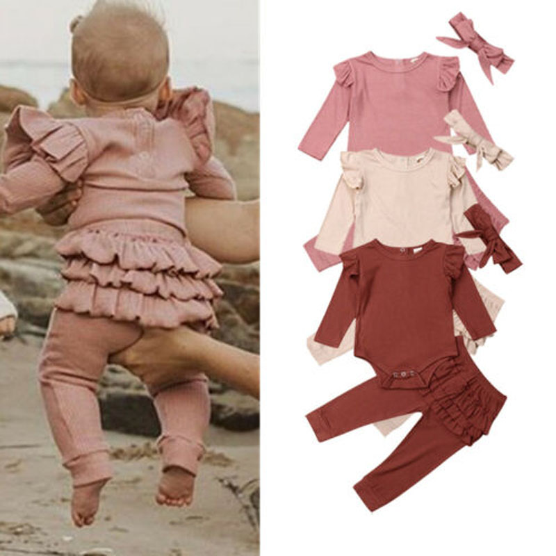 3PCS Newborn  Baby Girl Clothes Outfit Long Sleeve Solid Knitting Romper Top Ruffle Long Pants Trousers Headband 3 Pieces Set