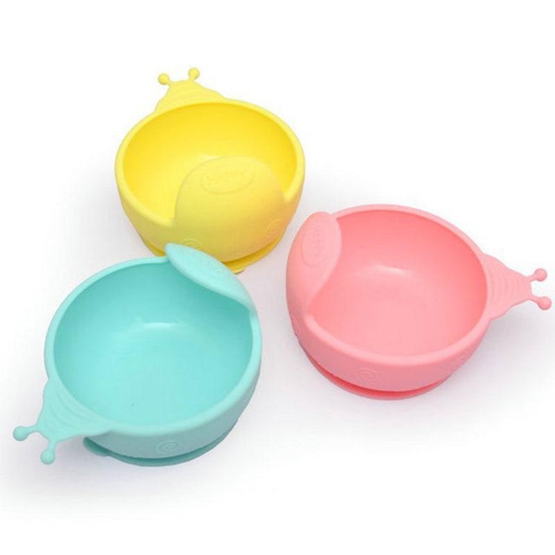 Antidrop Sucker Design Baby Bowl Food Grade Silicone Cartoon Snail Food Supplement Bowl Infant Feeding Tableware Children Dishes
