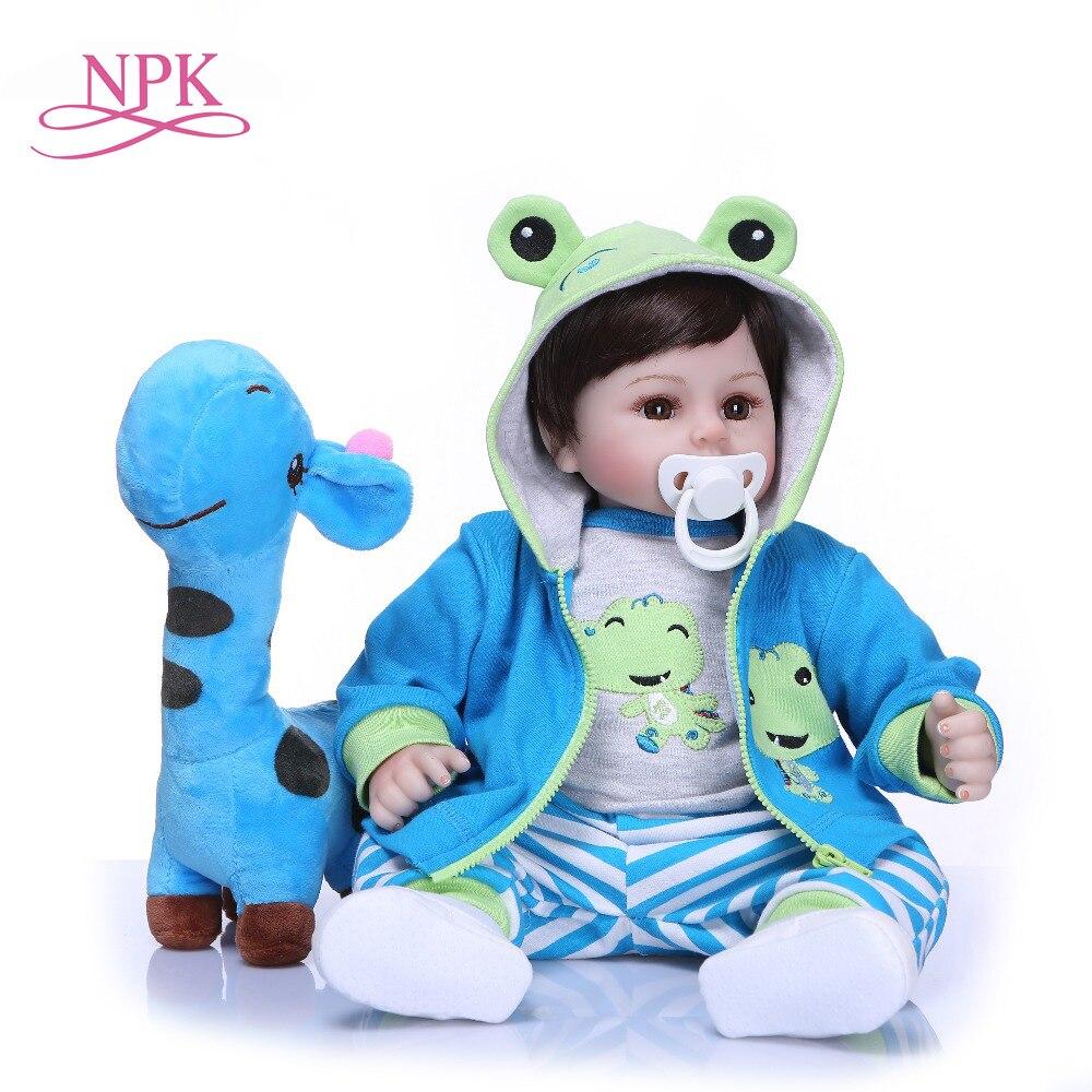 NPK 19''fait à la main Reborn poupées Silicone vinyle adorable réaliste enfant en bas âge bébé Bonecas garçon enfant bebes poupée reborn menina de silicone