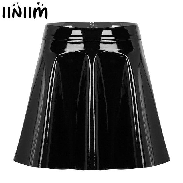 Womens Wetlook Mini Clubwear Sexy Pole Dance Costumes Leather High Waist Fashion Flared Pleated A Line Circle Mini Skater Skirt