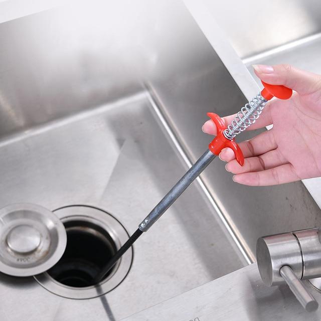90 cm + 160 cm longo fio de limpeza esgoto primavera casa dobrável pia banheira toalete draga tubulação banheiro cozinha esgoto limpeza ferramentas