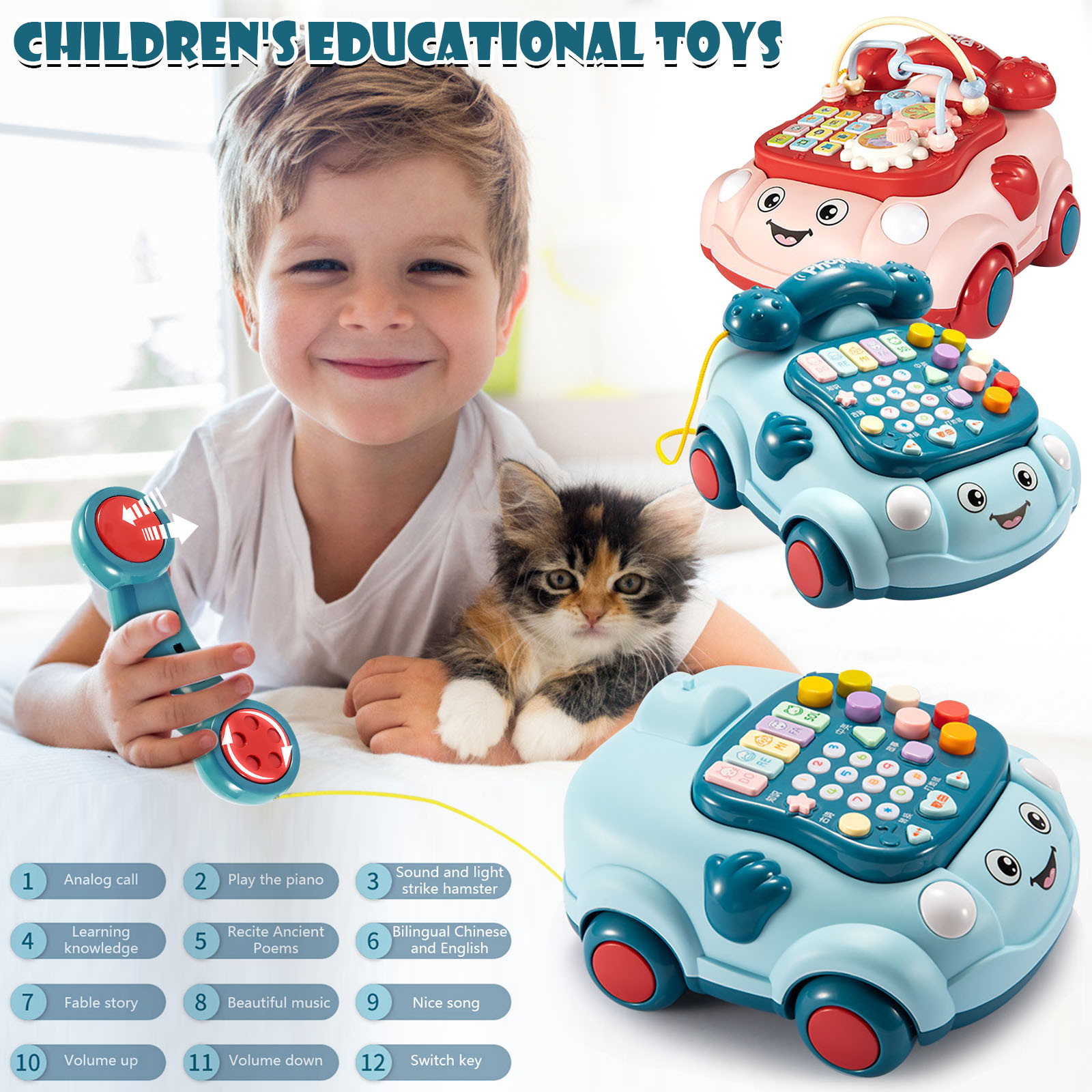 #5 Early Education Telephone Children's Toys 1-3 Years Old Baby Puzzle Music Phone Emulated Telephone Musical Toys For Kid