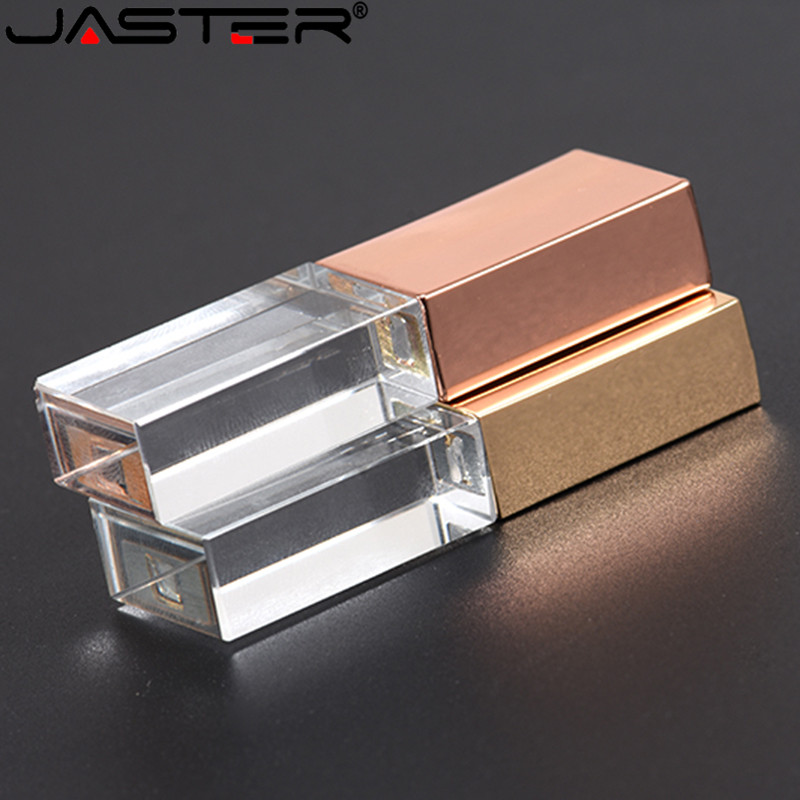 JASTERS Crystal Usb Sticks 3D Print Custom Logo 4GB 8GB 16GGB 32GB 64GB Usb Flash Pen Drive Transparent Glass