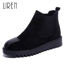 Liren 2019 Spring/Autumn Women Flock Ankle Boots Round Toe Slip-on Flat High Heels PU Lady Comfortable Cool Boots Women Shoes round toe basic slip on suede flat ankle boots nubuck casual pleated khaki grayness comfortable women autumn winter shoes