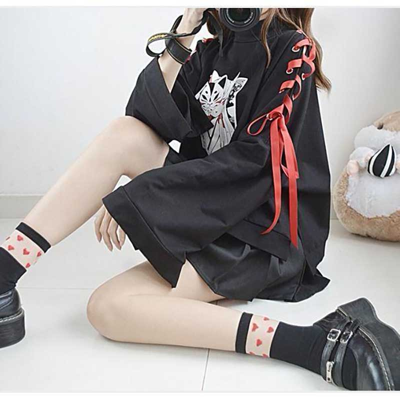 NiceMix Japanese Lolita Vintage Harajuku Anime Fox Print Lace-up Long Sleeve Hoodie Shirts Dark Girl Punk Street Sweatshirt Tops