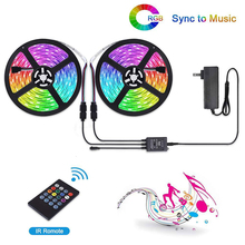 DCOO RGB Light Strips 32.8FT 5M/10M 20Key Music Sync Color Changing Rope Light SMD 3528 LED IR Remote Controller Flexible Strip