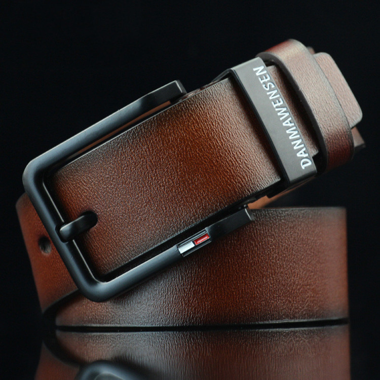 New Antique Pin Buckle Men's Belt Imitation Leather Casual Black Retro Belt