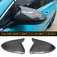 Carbon Fiber Rearview Mirror Cover For VW Golf7 MK7 VII Golf7.5 MK7.5 GTI 2014 2018 Side Mirror Caps Covers Replacement Horn ABS