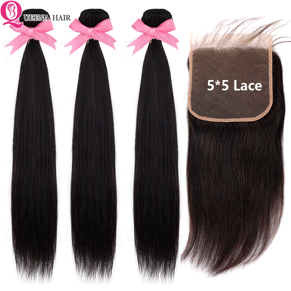 Raw Indian Straight Hair 3 Bundles With Closure Double Weft 5x5 Lace Closure With Bundles Remy Human Hair Bundles With Closure