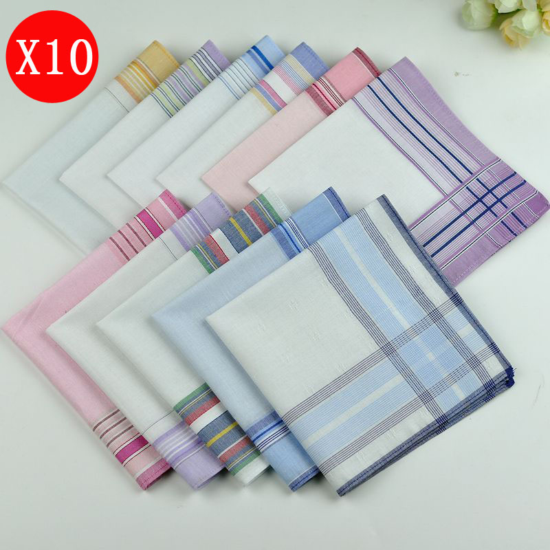 10pcs 28cm*28cm 40 Combed Cotton  Soft Stripe Women Square Handkerchief Ladies Hanky Children Baby Towel Party Christmas Gift