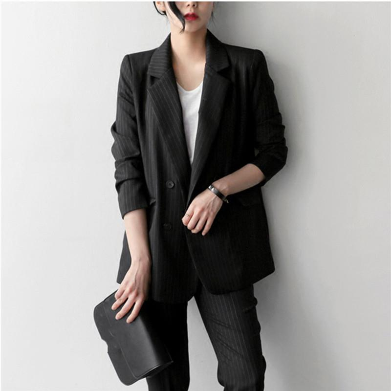 Nice Work Pant Suits Ol 2 Piece Sets Office Lady Female Double Breasted Blazer Jacket Oversized Trousers Suit