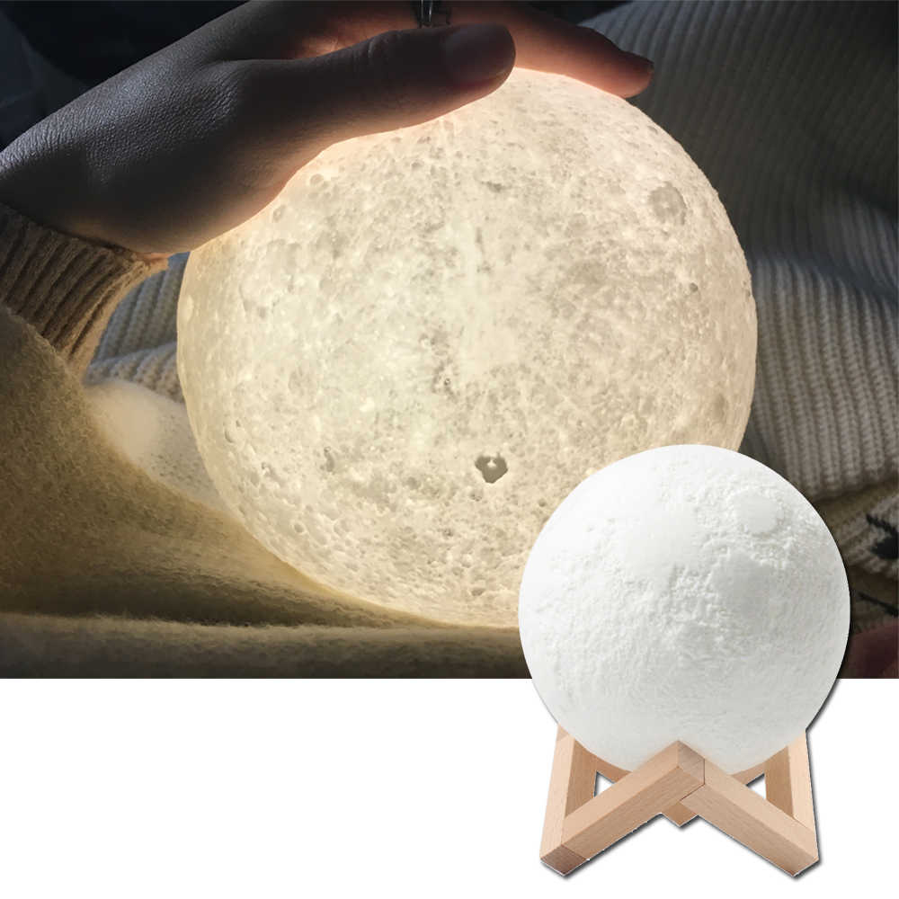Rechargeable Night Light Color Change 3D Print Light Touch Switch 3D Moon Lamp Bedroom Bookcase Moon Lamp Creative Gifts