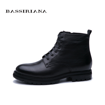 BASSIRIANA New 2019 men's leather leather fur shoes warm shoes high quality comfortable free shipping 1
