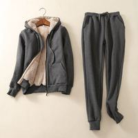 Winter Thick Fleece Women Sport Suit Tracksuits Warm Zip Up Hoodie Jacket+pant Casual Jogger Running Workout Gym Set Sportswear