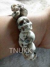 Exquisitas tallas auténticos huesos de ciervo pulseras de Calavera artesanías Regalos sorpresa de Halloween