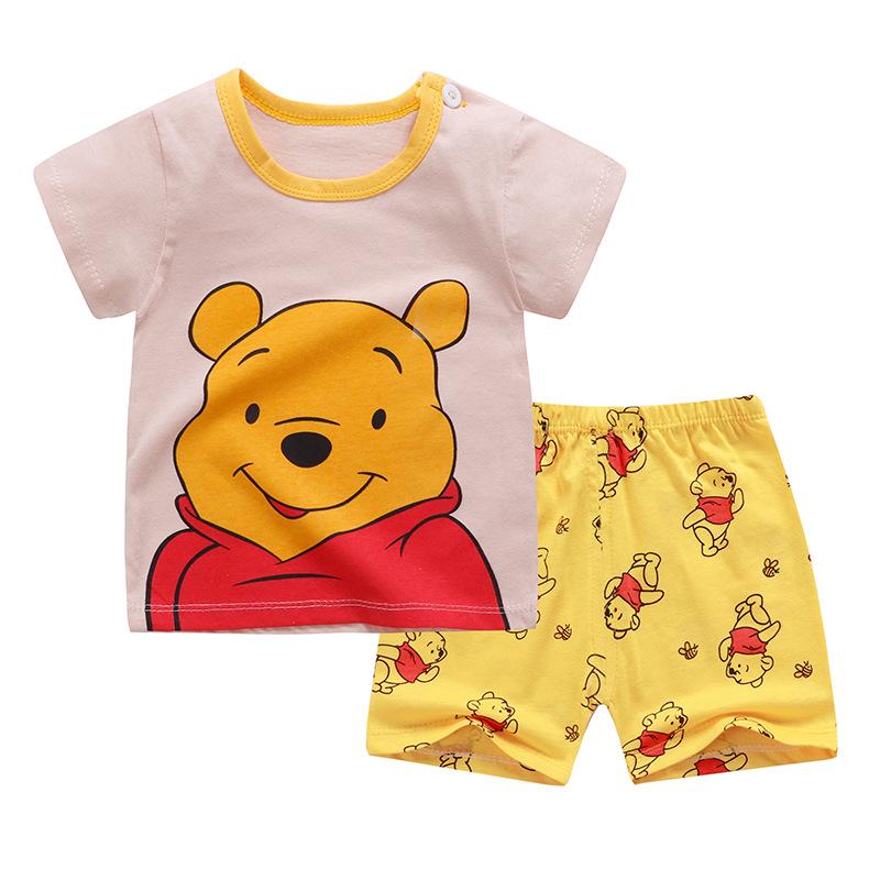 Summer Baby Boys Girls Cartoon Tshirt Top Shorts Pants Clothes Set Kids Cotton 2PCS Children Pajamas Girls Clothing Sets