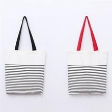 Cotton Stripe Shopping Bag Canvas Recycle Tote Unisex Travel Storage Handbag Package Travaling