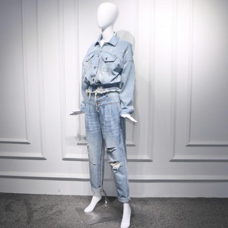 2020 New Women Autumn Winter Denim Jackets And Jeans Two Pieces Fashion Tassel Hole Denim Coats Jeans Pants 2 Pieces Sets Ladies