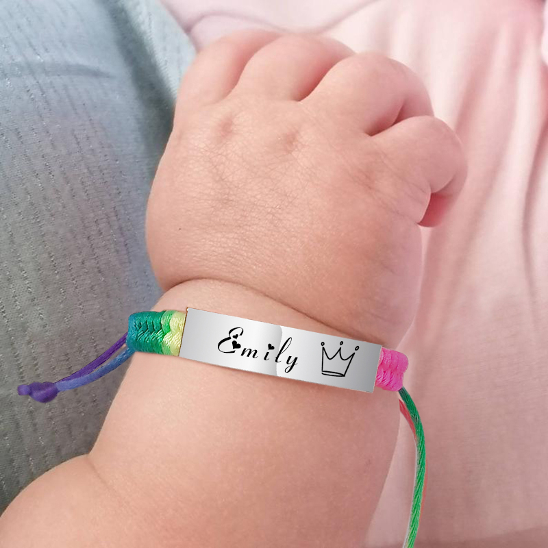 Personalized Name Children Baby ID Bracelet Engraved Logo Date Adjustable Rope Chains Wristband For Boy Girl 5inch To 8.6inch