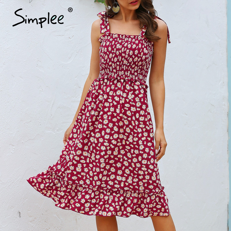 Simplee Ruffled Women Summer Dress Casual Sleeveless Strap Ruched Floral Print Beach Dress Ladies High Waist Holiday Maxi Dress
