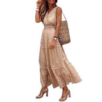 Fashion Women Dress Deep V-neck Chiffon Swing Sexy Lace Stitching Ladies Sleeveless Banquet Bohemian Beach Dresses