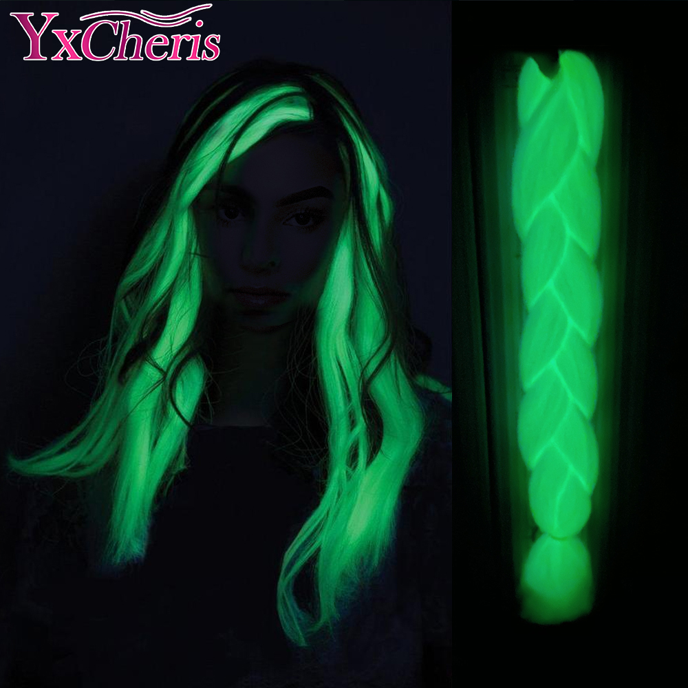 YxCheris Synthetic Braiding 24inch 100g Luminous Jumbo Braids Shining hair In The Darkness Glowing Braiding Hair