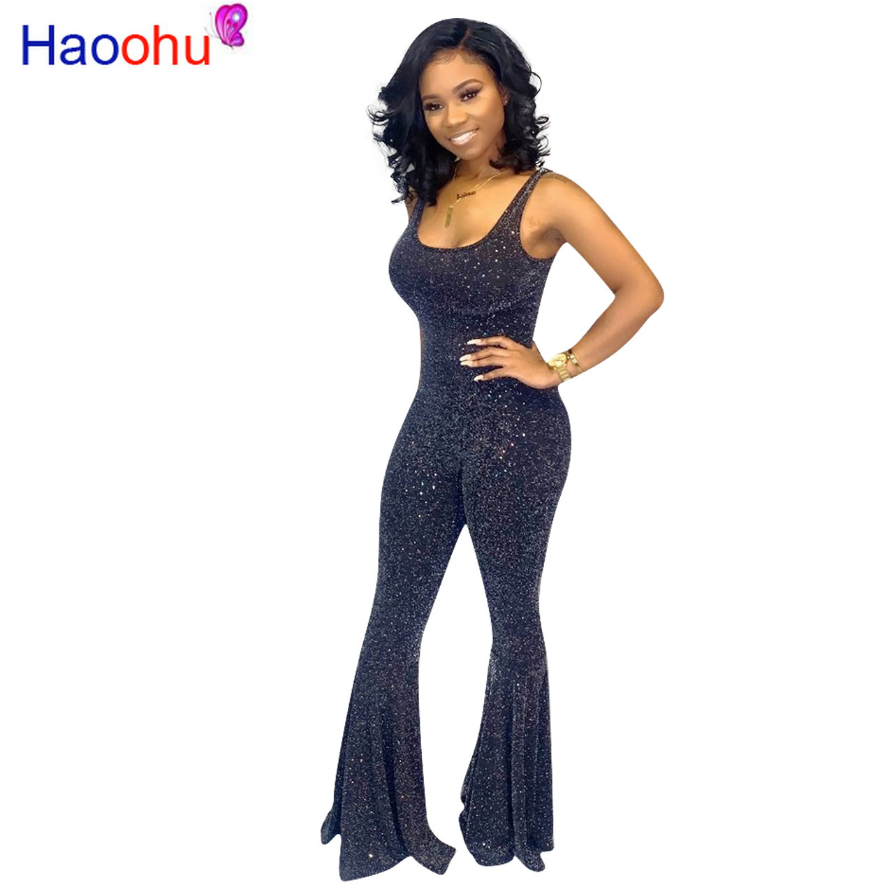 Spaghetti Strap Sexy Bell Bottom   Jumpsuits   for Women Open Back Low Cut Skinny Party Club Playsuit Summer Black One Piece Romper