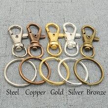 100 pcs Sleutelhanger Benodigdheden, Swivel Sluiting, Key Clip, trigger Snap Clip Haak + Split Key Rings Zilver, Brons, Koper, Staal