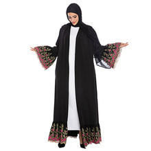 Floral Abaya Dubai Kimono Turkish Hijab Muslim Dress Jilbab Islamic Clothing Abayas For Women Caftan Kaftan Robe Islam Djelaba(China)