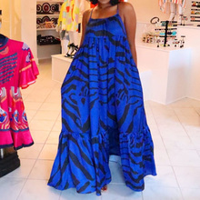 Blue Print Women Summer Sundress African Spaghetti Strap Sexy Backless Beach Long Ruffles Dress Casual Holiday Boho A-Line Robe zogaa vintage striped women long dress ruffles linen blue elegant summer dress 2019 casual dress cotton female beach vestidos
