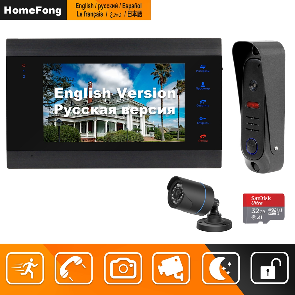 HomeFong Wired Video Doorbell With CCTV Camera 7 Inch Monitor Doorbell Camera  Video Intercom For Home  Support Motion Detection