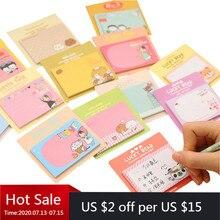 50 PCs קוריאני מכתבים חמוד מדבקות קריקטורה Creative הערות דרום קוריאני תזכיר גיליונות Kawaii מכתבים
