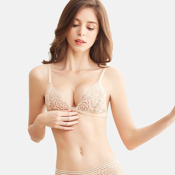 Sexy Lace Thin Triangle Bra For Women Lingerie Wireless Underwear Transparent Push Up bras Solid Bralette lace tops women