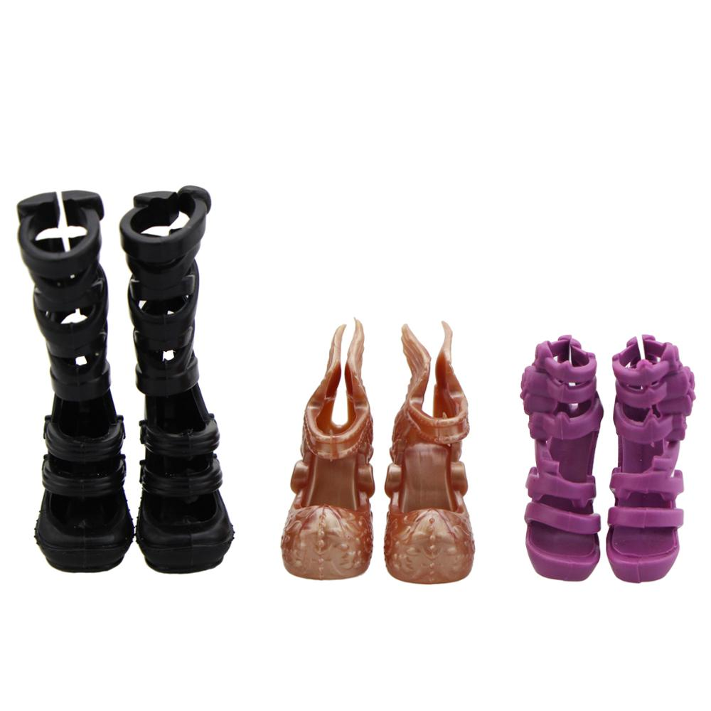 3 Pairs/Lot Fashion Desigh Shoes Mix Style Plastic High Heel Boot Sandals For Monster High Doll Accessories Dollhouse Baby Toy