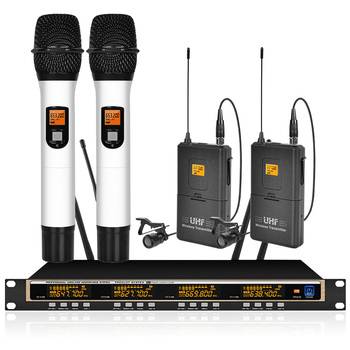 Professional UHF Wireless Microphone System 2 Handheld 2 Laval Clip Microphone Wireless Conference Microphone Stage School