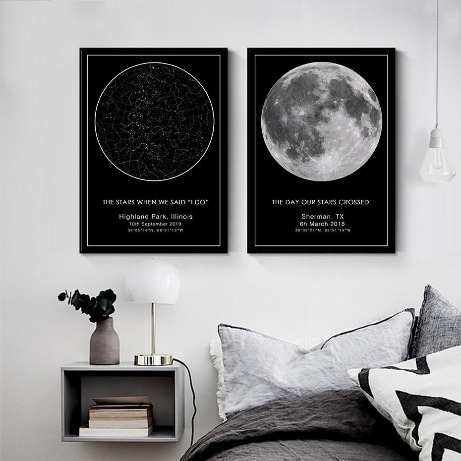 Картина на холсте с изображением звезды и карты, на заказ, Ночная Картина на холсте с изображением неба, свадебный подарок, созвездие, детски...