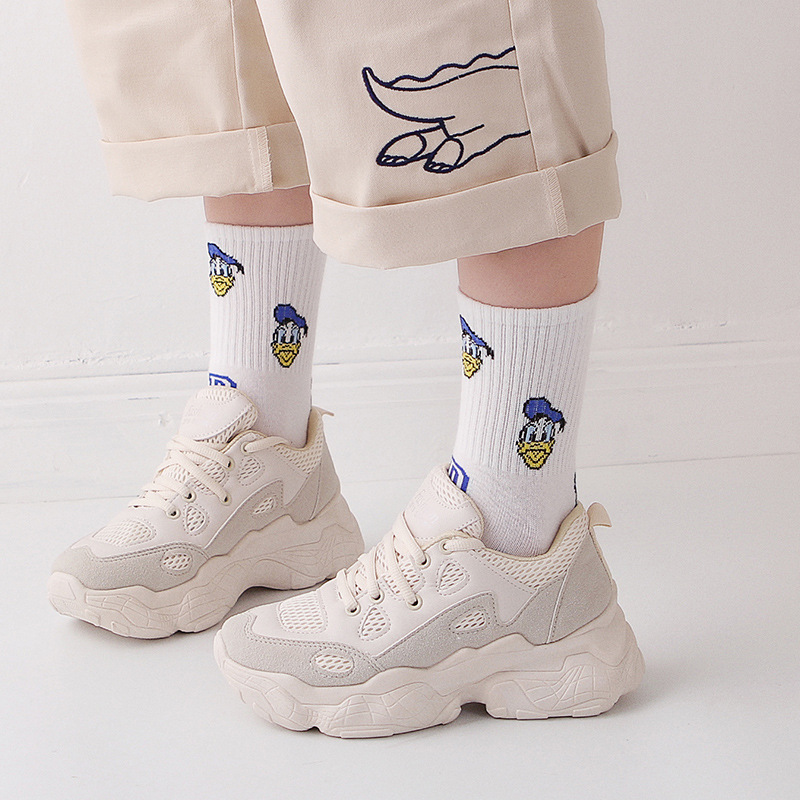 Mike Duck Harajuku Style Women's Lovely Cartoon Japanese Ankle Cute Mouse Minnie Female Casual Sock Cotton White Letter Sox