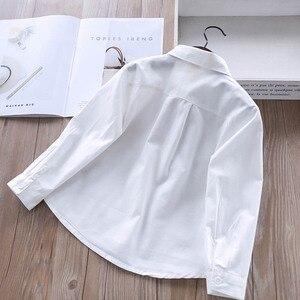 Image 2 - สาวเสื้อแขนยาวสีขาวเสื้อฤดูใบไม้ร่วง 2020 เสื้อผ้าเด็กเสื้อผ้าเด็กหญิง 8 ถึง 12 การ์ตูน fox เย็บปักถักร้อยเสื้อผ้าฝ้ายเสื้อ