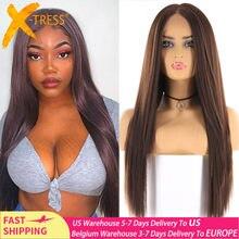 Peruca dianteira do laço sintético para preto feminino médio marrom cor longa reta perucas de cabelo parte média resistente ao calor fibra X-TRESS