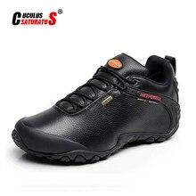 Мужские Брендовые повседневные ботинки из натуральной кожи, коричневые теплые рабочие ботинки на плоской подошве без застежек, высокие бот...