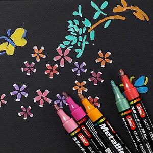 Image 2 - 15 צבעים מתכתי עט קבוע אקריליק סמני צבע עבור לשרבט גבולות דפוסים ומלאכת פרויקטים/מבוסס סמני Waterproof
